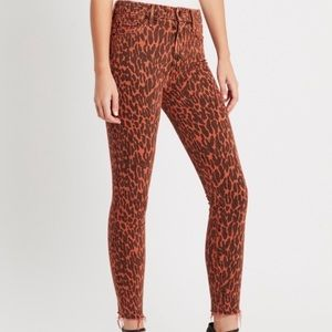MOTHER high waisted looker ankle fray animal print